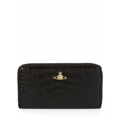 Vivienne Westwood Black Jungle Crocodile Print Purse
