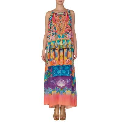 Camilla Multicoloured Patterned Drawstring Maxi Dress