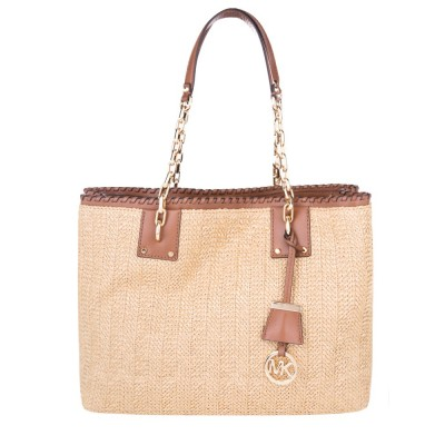 Michael Kors Brown Large Straw Tote Bag