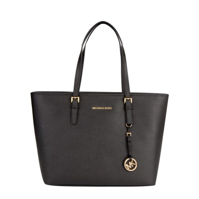 Michael Kors Black Saffiano Leather Travel Tote Bag