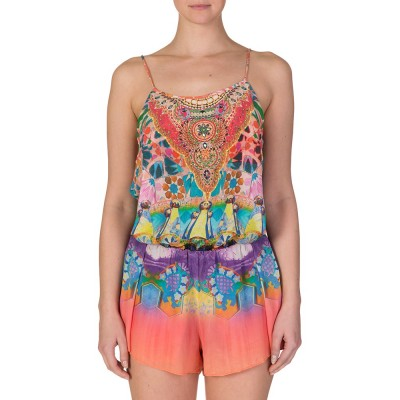 Camilla Multicoloured Shoestring Strap Playsuit