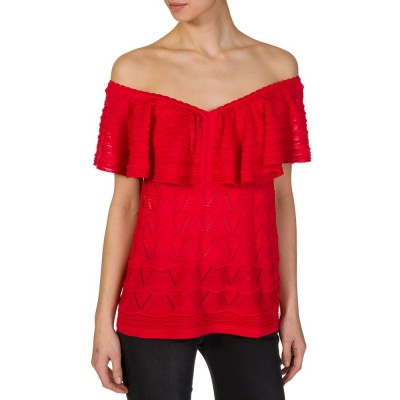 M Missoni Red Flounced Blouse