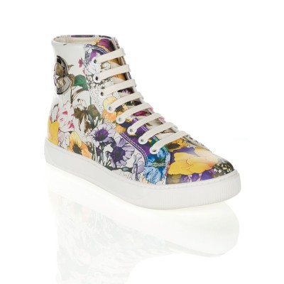 Moncler Isabela Leather Floral Print Trainer in White