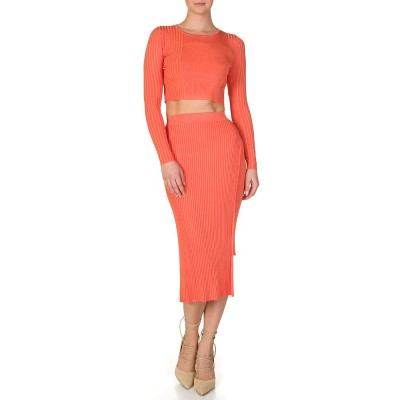 Ronny Kobo Coral Col Asymmetric Ribbed Skirt