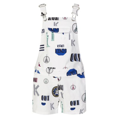 Kenzo Junior White Graphic Dungarees