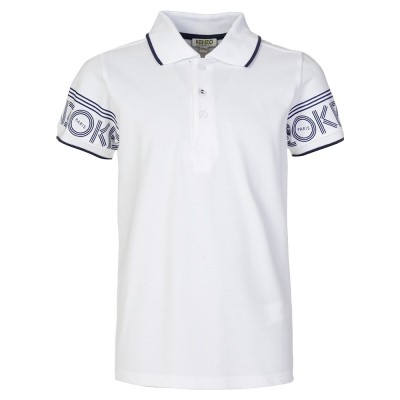 Kenzo Junior White Logo Trim Polo Shirt
