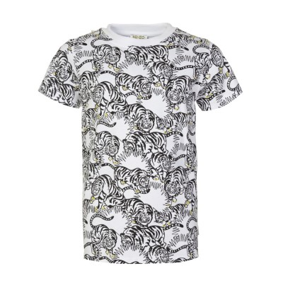 Kenzo Junior White Jungle Tiger Patterned T-Shirt