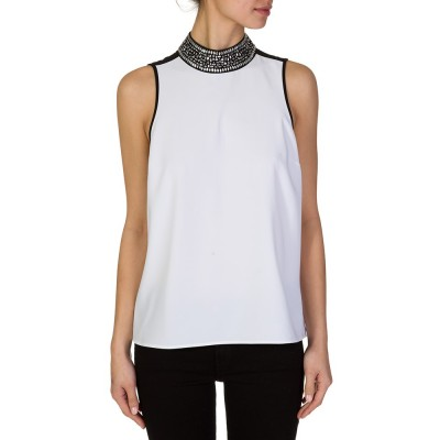 Michael Kors White Jewelled Sleeveless Blouse