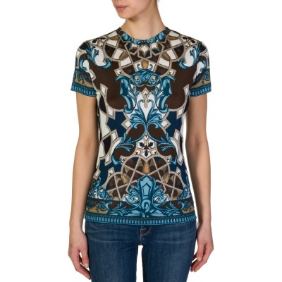 Versace Collection Blue Baroque Print T-Shirt