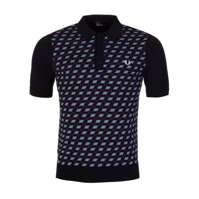 Fred Perry Navy Graphic Argyle Knitted Polo Shirt