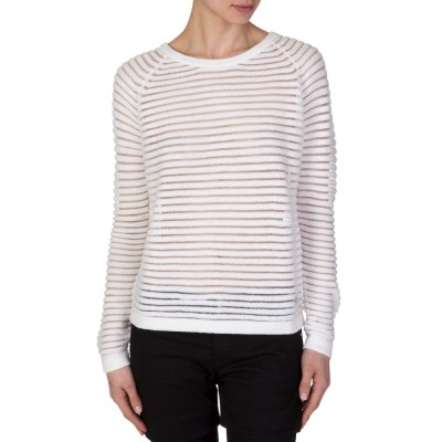 Armani Jeans White Ribbed Sweatshirt