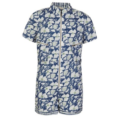 Stella McCartney Kids Blue Zipped Organic Cotton Playsuit