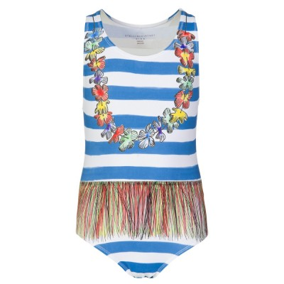 Stella McCartney Kids White Marcie Stripe Floral Swimwear