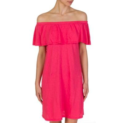 Velvet Coral Off-Shoulder Frilled Dress