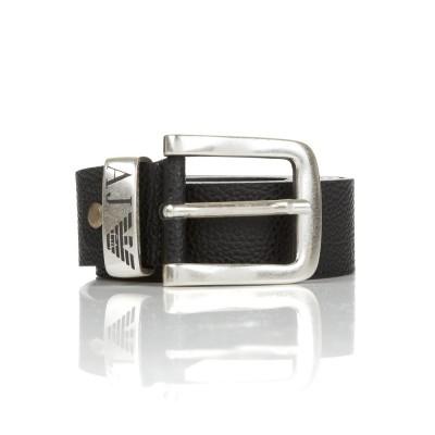 Armani Jeans Black Leather Belt