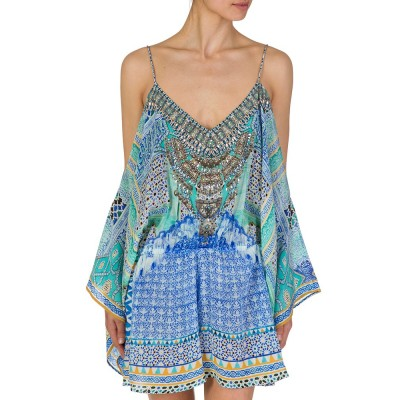 Camilla Blue Patterned Drop Shoulder Playsuit