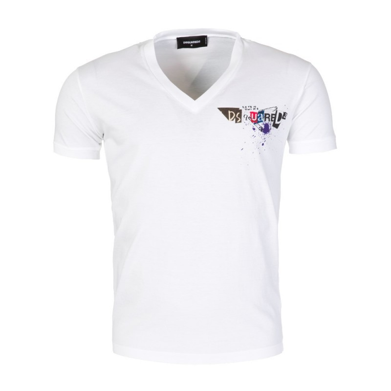 DSquared 2 White V-Neck Graphic T-Shirt