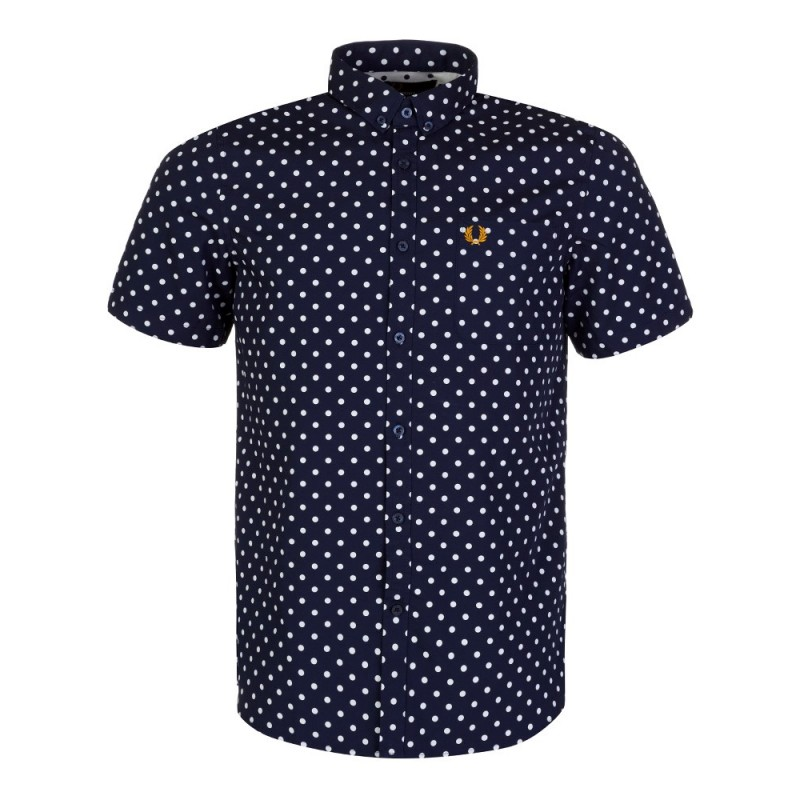 Fred Perry Polka Dot Short Sleeve Shirt in Navy