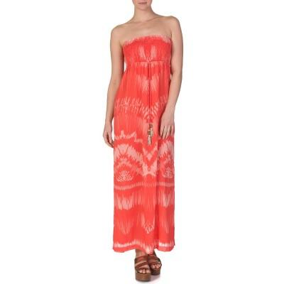Heidi Klein Orange Tahiti Elasticised Bandeau Maxi Dress
