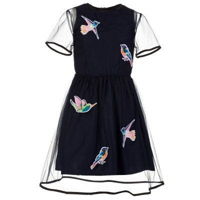 MSGM Junior Navy Mesh Bird Embroidery Dress