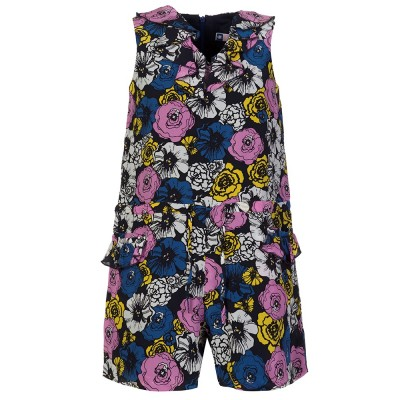 MSGM Junior Navy Floral Frill Playsuit