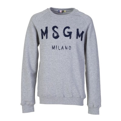 MSGM Junior Grey Marl Stitched Logo Sweatshirt