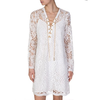 Michael by Michael Kors White Open Lace Dress