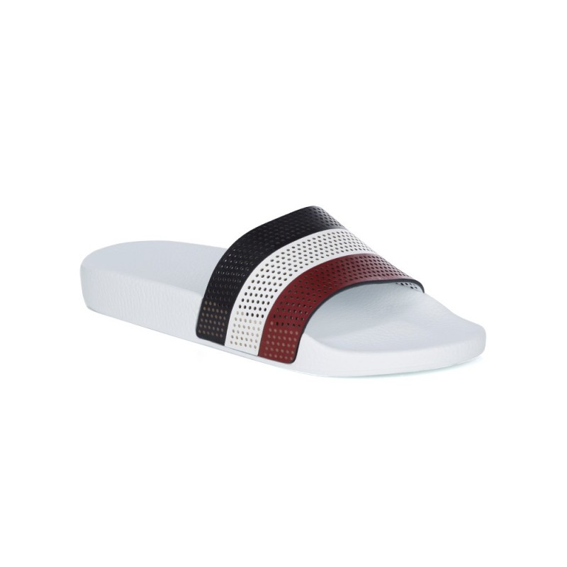 Moncler White Perforated Stripe Sandals