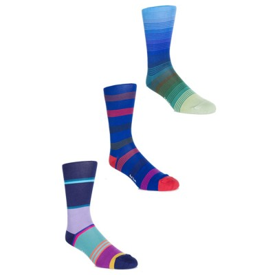 Paul Smith Accessories Blue 3-Pack Striped Socks