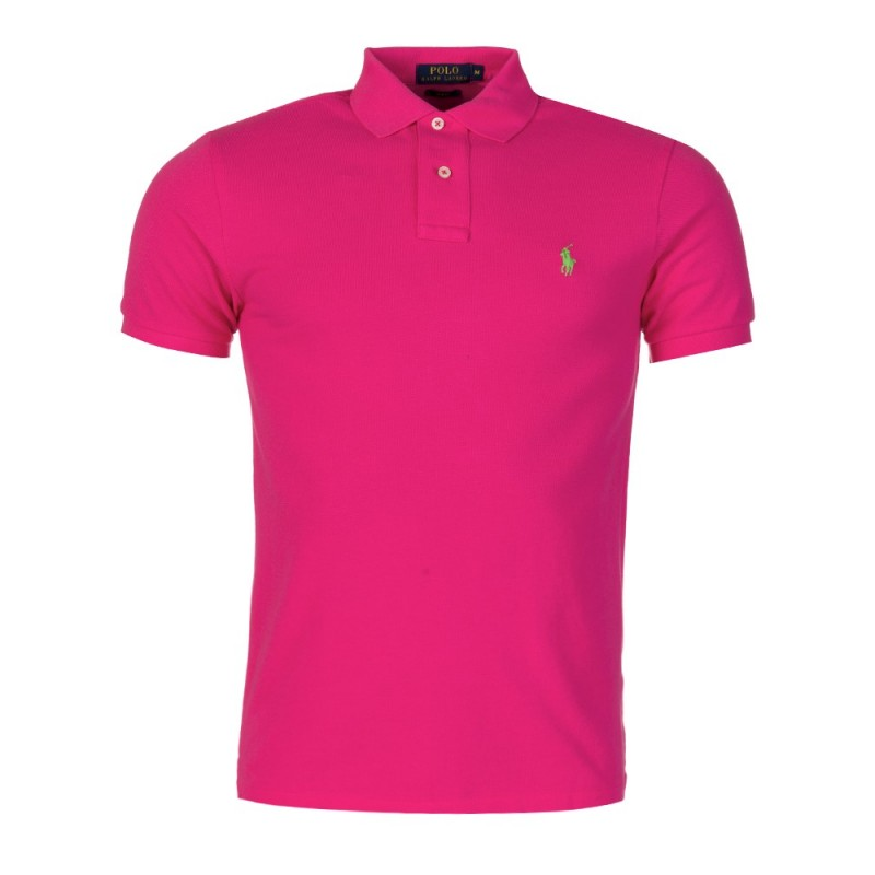 Polo Ralph Lauren Custom Stretch Mesh Polo Shirt in Fuchsia Pink