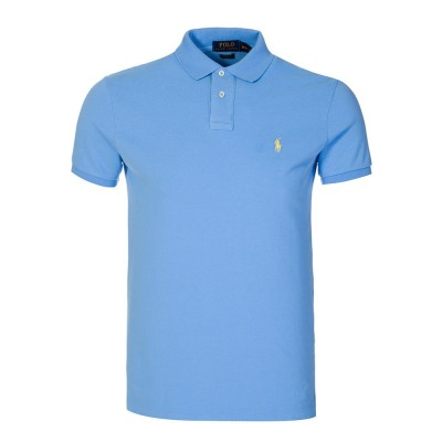 Polo Ralph Lauren Custom Stretch Mesh Polo Shirt in Sky Blue