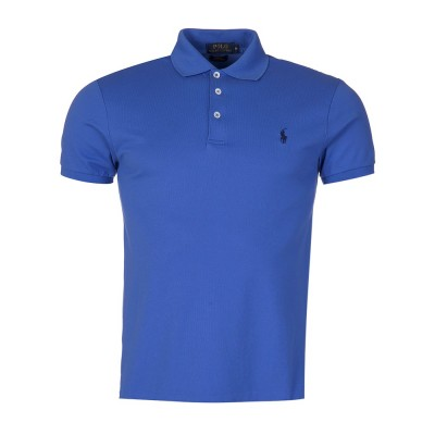 Polo Ralph Lauren Slim Stretch Mesh Polo Shirt in Blue