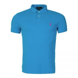 Polo Ralph Lauren Slim Stretch Mesh Polo Shirt in Turquoise