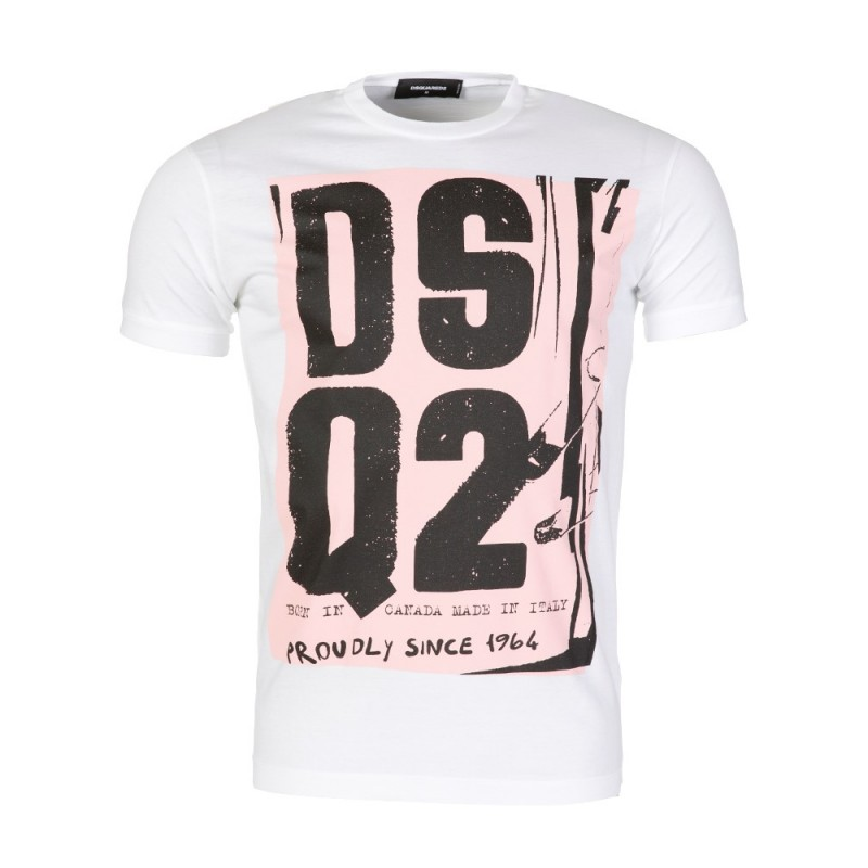 DSquared2 White Graphic Logo T-Shirt