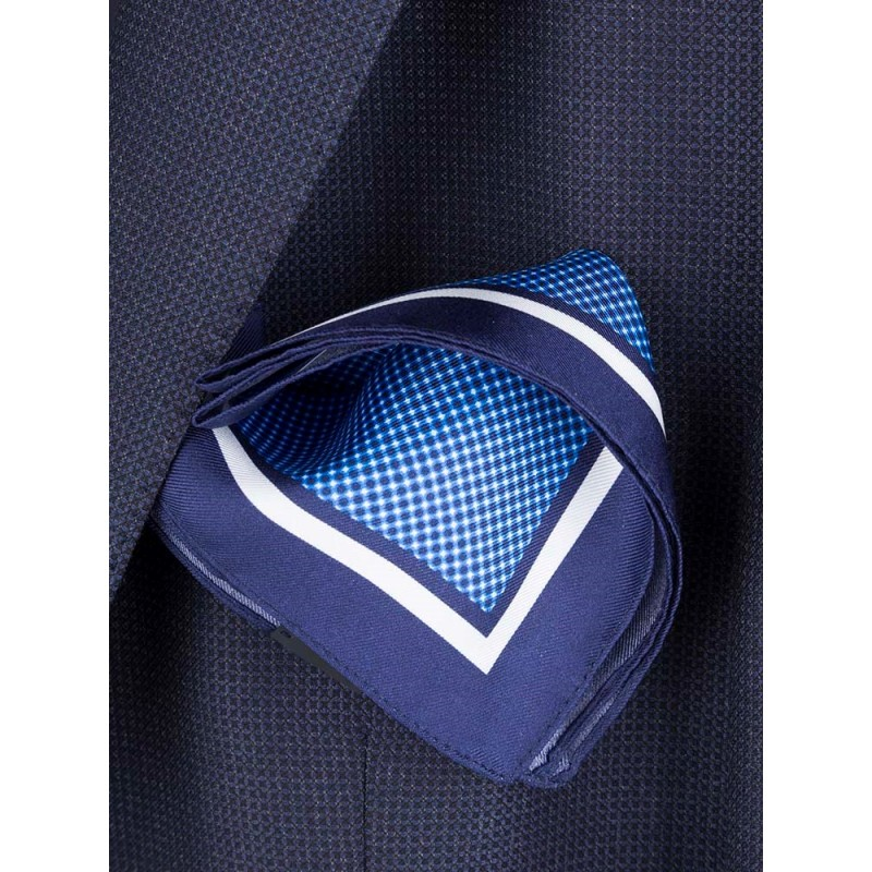 Hugo Boss Blue Stripe Pocket Square