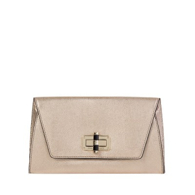 Diane Von Furstenberg Gold Leather Clutch Bag
