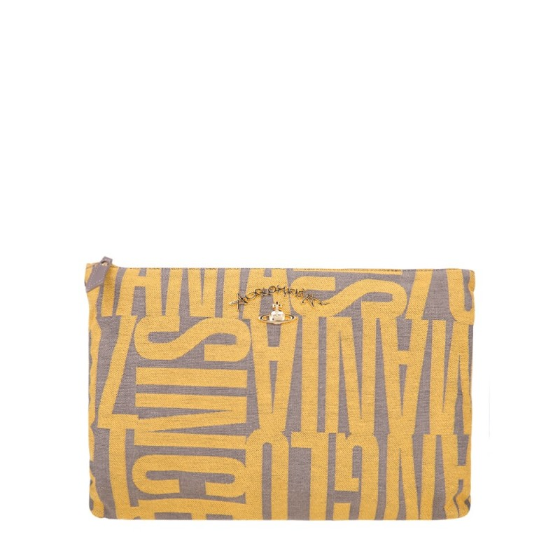 Vivienne Westwood Anglomania Yellow Jacquard Clutch Bag