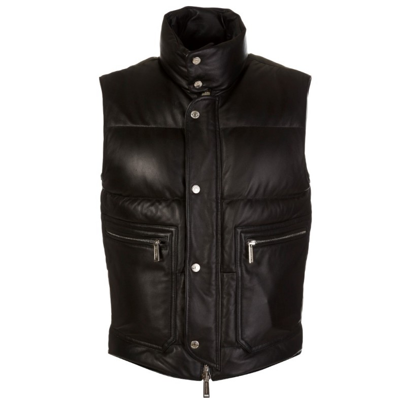 DSquared2 Black Leather Gilet