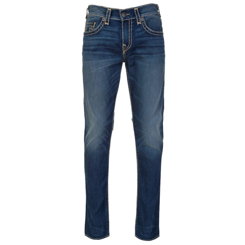 True Religion Stonewashed Geno Relaxed Slim Jeans