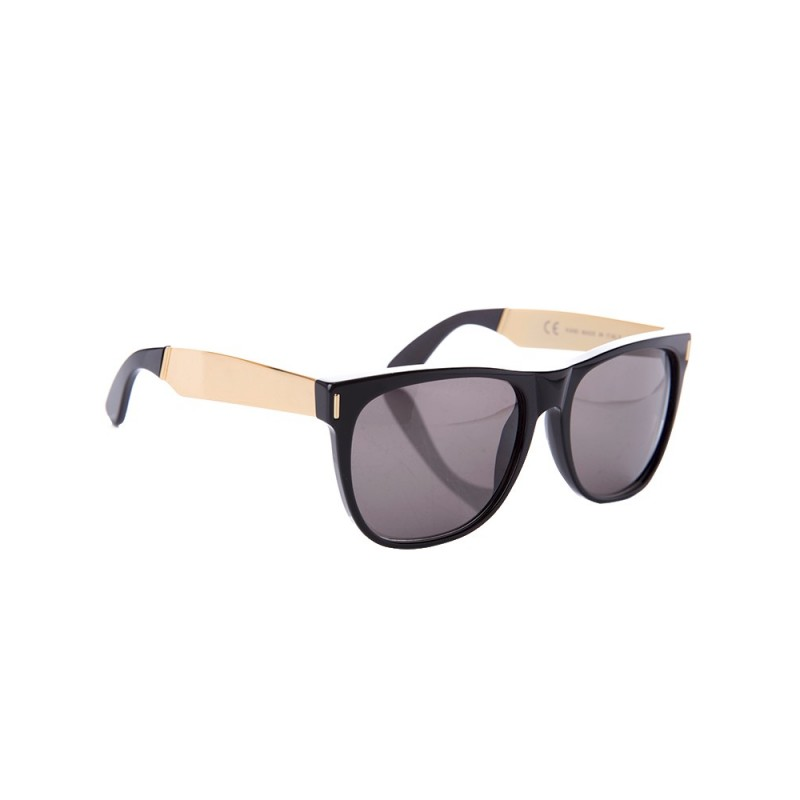 Super by RetroSuperFuture Black and Gold Francis Sunglasses