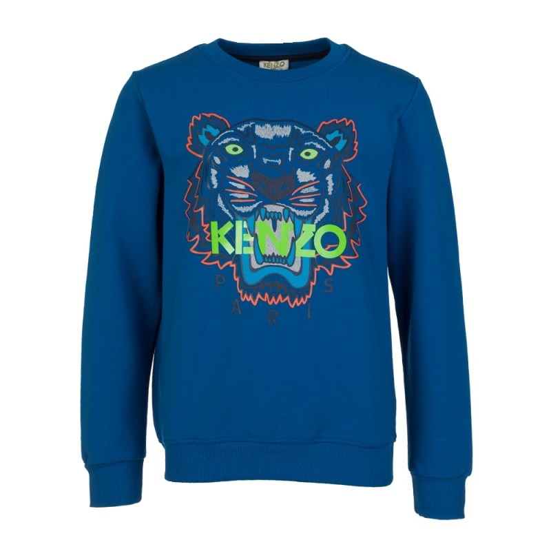 Kenzo Kids Blue Tiger Logo Sweatshirt