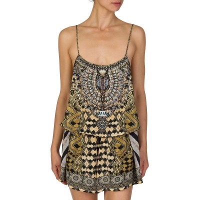 Camilla Black & Gold Weave of the Wild Playsuit