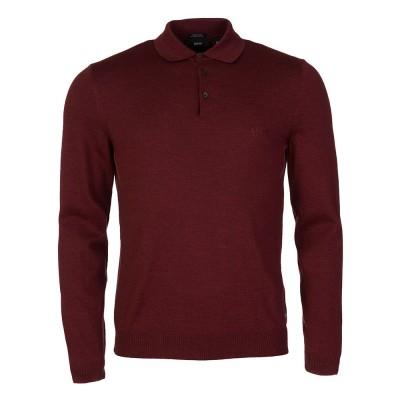 Hugo Boss Burgundy Regular Fit Knitted Polo Shirt