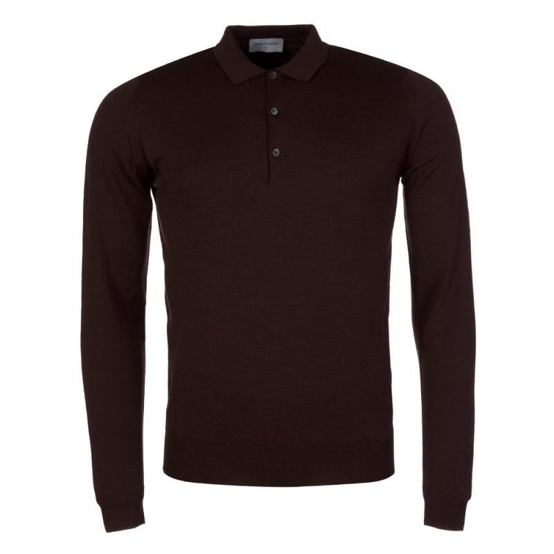 John Smedley Chestnut Tyburn Knitted Polo Shirt