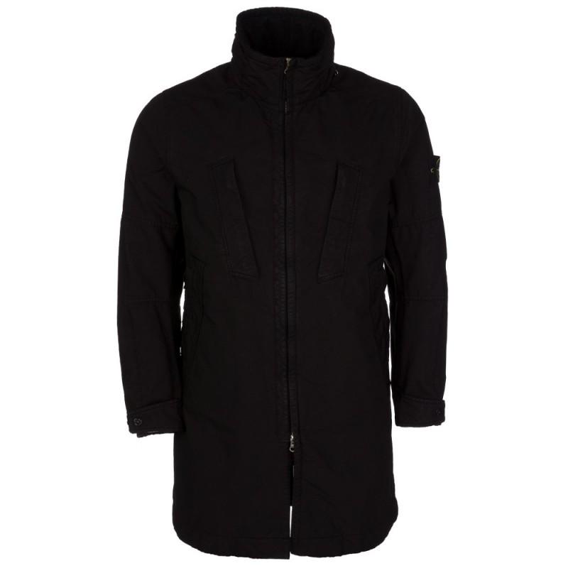 Stone Island Black Fishtail Parka Coat