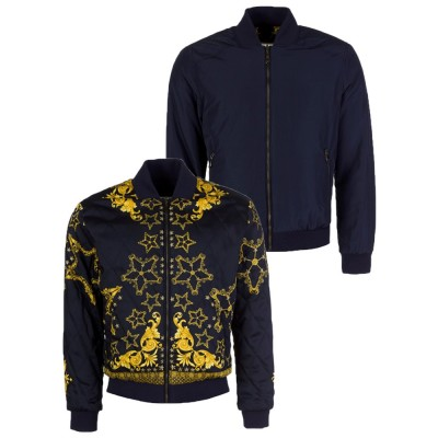 Versace Collection Navy Reversible Bomber Jacket