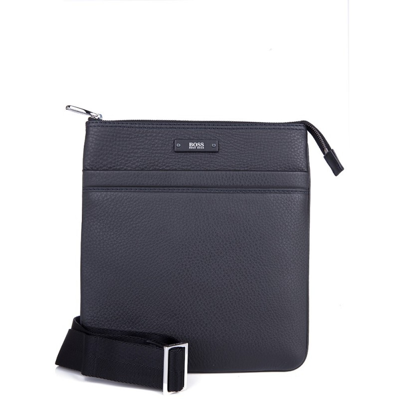 Boss by Hugo Boss Black Leather Traveller Messenger Bag