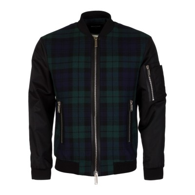 DSquared2 Black Tartan Bomber Jacket