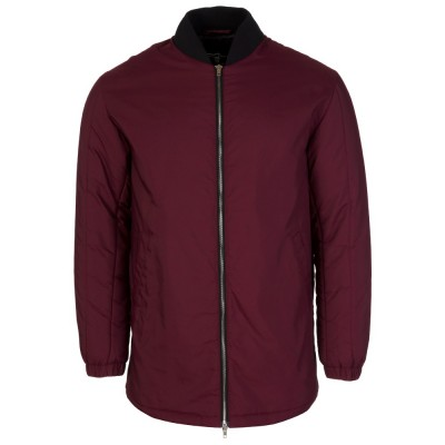 McQ Burgundy Long Boom Bomber Jacket