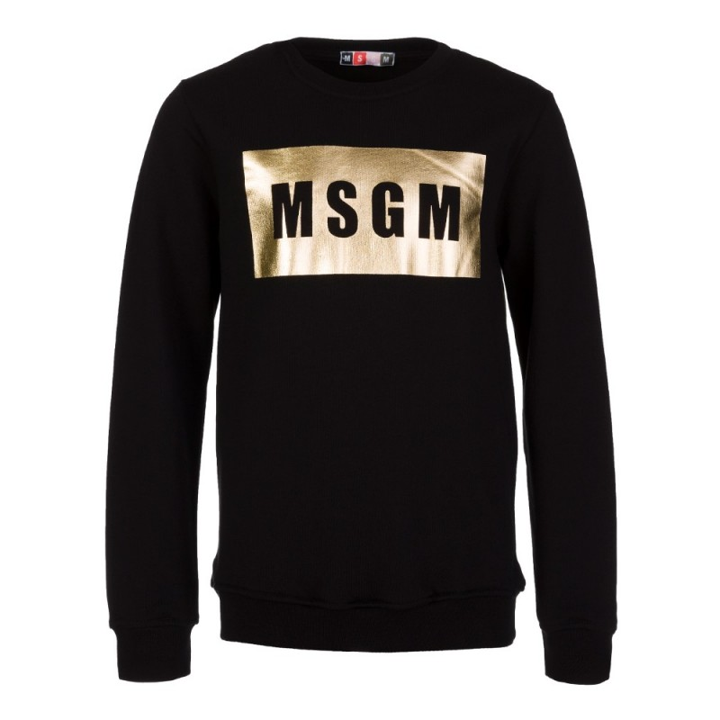 MSGM Black Metallic Logo Sweatshirt
